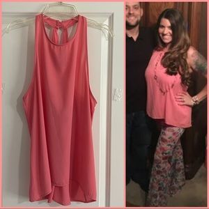 Lulus Coral Pink- Racerback tank with keyhole back